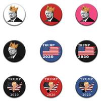 트럼프 파티 호의 라운드 배지 대통령 일반 선거 브로치 크라운 서클 브로치 미국 국기 휘장 다채로운 1 35MD C2