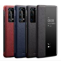 QIALINO, Windows Görünüm Lüks Gerçek Deri Telefon Kapak Huawei P40 Akıllı Görünüm Case Pro + P30 Mate 30 Pro Ultra İnce Flip Case için