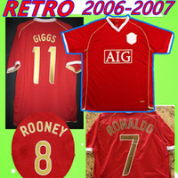 Manchester United man utd # 7 Ronaldo # 8 Rooney # 11 Giggs 2006 2007 Manchester 06 07 United Retro Soccer Jersey Camisa de fútbol Classic Conven Collection