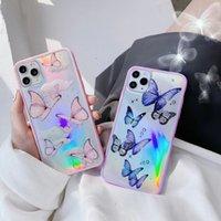 Gimfun Cute Laser Card Butterfly Phone Custodia per iPhone 11 Pro Max XS Max XR 7 6 8 Plus Rosa Viola Scintillio Soft Clear TPU Cover