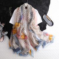 الكلاسيكية الشبكة الحرير والأوشحة العصرية شريط الأزياء وشاح المرأة في الهواء الطلق شال وشاح الشاطئ أشجار الشمس سيدة التفاف الأوشحة
