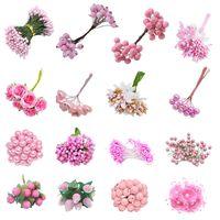 Flores decorativas guirnaldas mezcla estilo rosa flor artificial estambre cereza bayas bayas boda decoración navideña bricolaje guirnalda artesanía gi