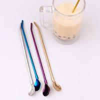 ABD STOK! Kaşık 304 Paslanmaz Çelik Hasır Kaşık Çay kaşığı Kahve Kaşık Straw fy4147 İçme Mate Karıştırma Yaratıcı İçecek Kum Buz