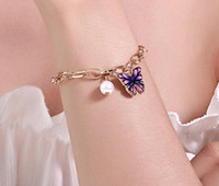 Fashion Butterfly Chain Bracelet Pearl Charms Chain Bracelet...