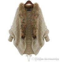 Wholesale- 2018 Herbst-Winter-Frauen Strickjacken Strickjacke-Schale Big Wraps Hieb-Hülsen-Strickjacke-Pelz-Pullover mit Schalkragen Poncho Mantel