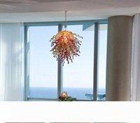 Италия Art Glass Подвеска Лампы настольная Centerpieces Twisted Glass Цепные Люстры 100% ручной выдувного стекла LED Люстра светильник