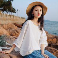 T-shirt das mulheres Johnature Women Bat Sleeve Plus Size Camisetas Cor Sólida Verão O-pescoço Loose Feminina Vintage Vestuário macio