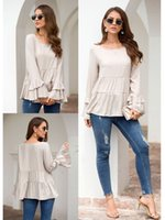 new style fashion women ruffle sleeve shirts loose batwing s...