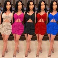 Le donne solide impostano due pezzi set tucksuit tiratura cravatta cravatta top bodycon mini mini gonne impilate vestito vestito set abito