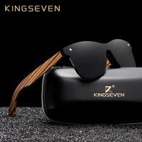 KINGSEVEN 2019 polarizada Gafas de sol cuadradas Hombres Mujeres cebra marco de madera espejo plano de la lente UV400 Gafas de conducción Y200619