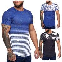 Adam Casual Baskı Kısa Kollu Homme için tişörtleri Yaz O-boyun İnce Spor Tees Mens Kamuflaj Designer Tops