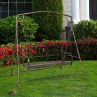 Patio Bancs Gold épuisé Art de fer extérieur Cadre Noir Couple Loisirs Confortable Jardin Swing Rocking Pinceau Pinceau