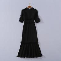 710 XL 2020 العلامة التجارية الحرة الشحن نفس نمط اللباس V الرقبة الأسود النسائية الملابس فلورا طباعة فاخرة اللباس والأزياء YIMI