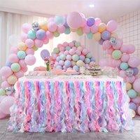 Tabela saia arco-íris cor tulle tutu toalha de mesa para crianças decoração de aniversário decorações de casamento chuveiro de bebê tabelas de favor