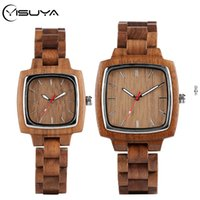 YISUYA Walnut Relógios de madeira para amantes Casal Men Watch Mulheres Woody Banda Reloj Hombre 2020 Relógio Masculino Horas Presentes da lembrança Top CX200720