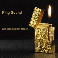 용 가스 라이터 연마 제트 가스 부싯돌 라이터 부탄 금속 엠 보스 PING 밝은 사운드 담배 시가 라이터 비정상적