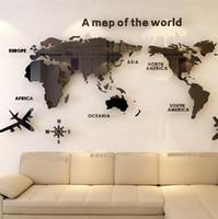غرفة NEW الشمال الرياح الاكريليك 3D ستيريو ملصقات الحائط الجلوس خريطة للعالم للماء خلفيات ديكور منازل المنزل والحديقة HA1010