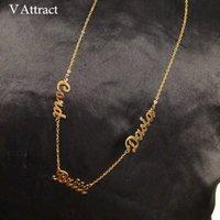 Attract V Individuelle Drei Namenskette Frauen Personalisierte Schmuck Best Friends Gold-Multiple Namen Handmade Bijoux Collier Femme CX200725