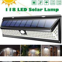 118 LED 1000LM 3 طرق حديقة للطاقة الشمسية أضواء LED في الهواء الطلق مصباح للطاقة الشمسية استشعار الحركة 270 درجة IP65 للماء الخفيفة للطاقة الشمسية الأمن