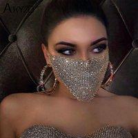 Partito delle donne di cristallo Masquerade Mask gioielli e accessori da pesca rete metallica strass Maschera Maschera paillettes fronte mezzo