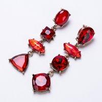 EH8011 Boucles d'oreilles diamantés de goutte d'eau exagérées Bohême de femmes multicouche