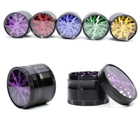 Tobacco Smoking Herb Grinders Four Layers Aluminium Alloy Grinder 100% Metal dia 63mm have 5 colors With 63mm - Engraved Custom Skeleton Cig