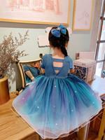 Девушки градиент голубое платье принцессы лето новых детей без спинки с коротким рукавом тюль TUTU платье детские блестки марлевые вечеринки платье A3515