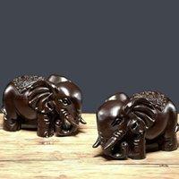 Carving Ebano Legno Arti e Mestieri Ornamenti Una coppia di Lucky Elephant Mini sveglio dell'elefante 12 * 5 * 8cm Dimensioni