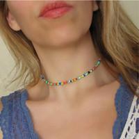 Fashion Beaded Choker Ketting Kleur Acryl Kralen Contact met Metalen Part Lobster Extended Chain Silver Color Geplated Women Girls Gift