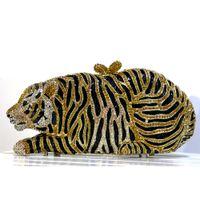 Тигр кошелек кристалл сцепления вечерняя сумка вечеринка кошелек женщин горный хрусталь вечерние клатча сумки в наличии Сумка муфты черная сумка черного тигра