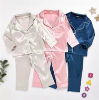 Детские шелковые пижамы весна осень длинный рукав домашняя одежда с длинным рукавом рубашка + брюки спящая одежда Silk Comfort ночная одежда детская домашняя одежда LY7292