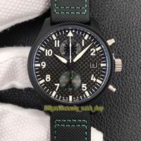 Neue Top-Version YLF Pilots AMG Special Edition Keramik Gehäuse 389.005 Zifferblatt schwarz ETA A7750 Chronograph Automatik Herren-Uhr Nylon Sportuhren
