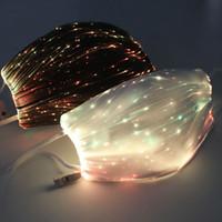 LED Fiber Işık Değiştirilebilir Işıltılı USB Şarj Yüz Maskeleri Anti Toz DJ Müzik Parti Gece Kulübü Renkli Ağız Kapak LJJP101 Maske