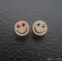EYEFUNNY style micro incrusté forage 18K or véritable placage riche clous d'oreille visage souriant plaisir