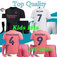 2020 21 kids Real Madrid soccer jersey HAZARD KIDS kits with...