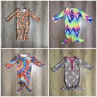 Mamelucos Girlymax Born Bay Baby Gown Girls Boutique Ropa Ropa infantil Camisón de algodón Trajes de algodón Momber Manguito de manga larga corbata Pumpkin