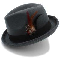 Feminino degli uomini delle donne feltro cappello di Fedora Per Lady Autunno Inverno Lana Chiesa Roll Up Brim Homburg cappello di jazz Feather Hat Y200716