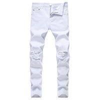 Сплошной белый рваные джинсы Мужчины 2020 Классический ретро мужские узкие джинсы Марка Упругие Джинсовые брюки Брюки Повседневный Slim Fit Карандаш Pant