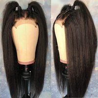 High Quality Yaki Straight Wig Soft Swiss Lace Frontal Wig P...