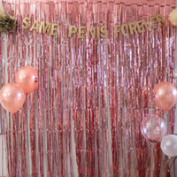 1M 2M Rose Gold Metallic Foil Tinsel Fringe Curtain Door Rai...