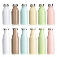 Lait Bouteille isotherme Macaron Couleur 350ml 500ml Aspirateur bouteille isotherme Bouteille de lait étudiant en acier inoxydable avec couvercle