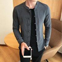 Camicie Casual da uomo Camisa de Cuello Chino, Mandarín, Ajustada, Casual, Taichí, Negra Manga Larga Para Hombre