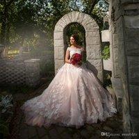 Blush Pink Lace spalle Weding Abiti 2021 Garden Country lungo Tulle A Linea africani Abiti da sposa con applicazioni
