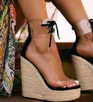 Dipsloot Mujer caliente Negro oro blanco claro cuña de PVC sandalias de la plataforma de la cremallera trasera ata para arriba abierto de tacón alto sandalias ocasionales