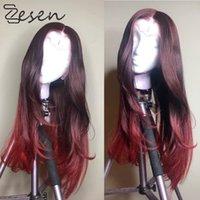 Zesen أومبير طويل متموج الأحمر الباروكات تأثيري الباروكات الاصطناعية الرجال الحزب يوميا مقاوم للحرارة الكاذبة الشعر
