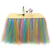 Tabela saia 80x100cm tulle gaze festa casamento mesa de mesa decoração banquete festa de aniversário de aniversário