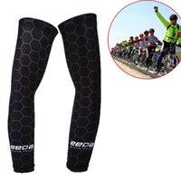 2PCS hommes sport bras manches UV Protection contre le soleil manchette couverture Cyclisme Course à pied bras de protection noir vélo vélo Warmers manches