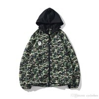 Autumn Men' s Green camo Double Zipper Windbreaker Hoode...