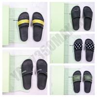 2020 altın siyah beyaz şerit Tasarımcı Ayakkabı SOL SAĞ OG mavi kırmızı şerit Yaz Plaj Kapalı Düz Terlik Ayaklı Kutusu sandal Floplar