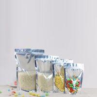 1000 шт. Стенд Очистить Сумку из алюминиевой фольги, Серебристый Металлический Пластиковый Упаковочный Чехол Для Пищевой Чай Candy Cookie Выпечки Бесплатная Доставка